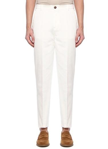 Brunello Cucinelli 101614493 Dar Paça Dekoratif Dikişli 4 Cepli Erkek Pantolon Beyaz